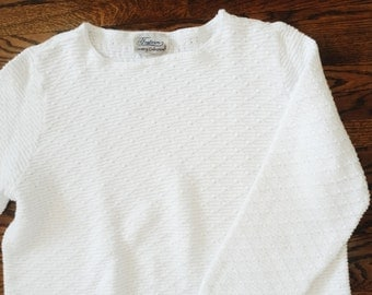 RESERVED FOR A   Vintage Ivory White Knitted Oversize Sweater