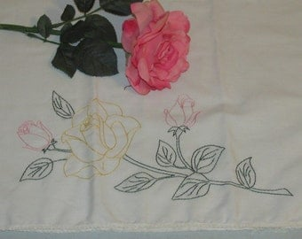 Vintage yellow rose pillowcase