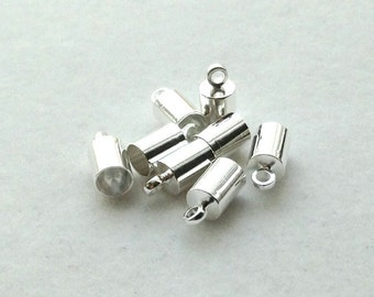Silver Plated 3mm Glue-In End Caps - 4 pair