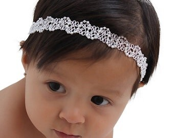 Baptism Headband, Christening Headband, White Headband, Newborn Headband, Baby Girl Headband, Infant Headband, White Baby Headband, Halo