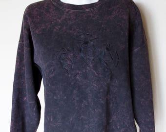 1990s Acid Wash Kokopelli Cropped Sweatshirt Vintage Adult Medium Large Shirt Top Hipster Embroidery Festival Summer