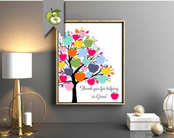 Printable teacher gift, apple tree, class gift, teacher gift, Teacher apple, Tree Class Names, Teacher Appreciation Gift, End of year Custom