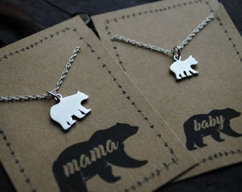 Mama Bear Baby Bear Mother Daughter Necklace Set for Mothers day  .  matching mother daughter necklace