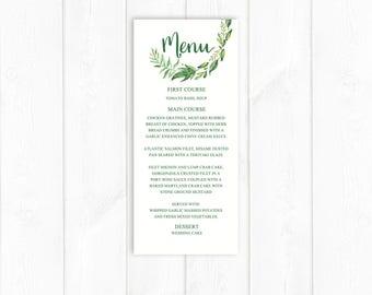 Green Wedding Menu Printable Garden Wedding Menu Digital Wedding Menu Botanical Menu Reception Menu DIY PDF leafy wedding menu Wreath Menu