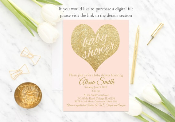 Pink Gold Baby Shower Invitation Girl Baby Shower Invite, Gold Glitter, Blush Pink Baby Shower Invitation, Printed, Heart, Elegant