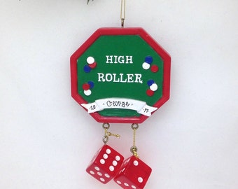 FREE SHIPPING CLEARANCE: Personalized Gambler Christmas Ornament / Craps Gambling Ornament / Vegas ornament