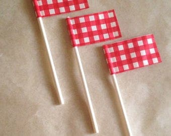 Cake toppers Red Gingham check Summer Cookouts decorations 4th of July parties, backyard barbecues country wedding flags