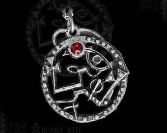Seal Sigil of Samael with Garnet or other gemstone