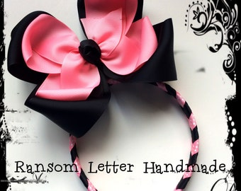 Big Black and Light Pink Valentines Hair Bow and Chevron Braided Head Band Older Girl Accessory Cute Princess Glamour Tween