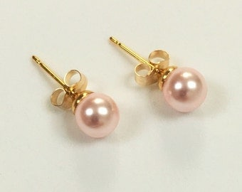 6mm Pink Pearl Stud Earrings Small Pearl Earrings ROSALINE blush pink earrings Light pink SWAROVSKI element Pearls, GOLD plated Pierced Stud