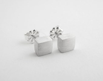 Square Studs, 5mm, Minimalist Earrings, Stud Earrings, Mens Earrings, Everyday Studs, Mens Jewelry, Sterling Silver, Matte or Shiny Finish