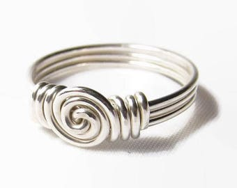 Sterling Silver Swirl Ring, Sterling Silver Jewelry Handmade, Sterling Silver Wire Ring, Wire Wrapped Ring Size 3 4 5 6 7 8 9 10 11 12 13 14