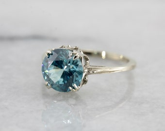 Lovely Blue Zircon Solitaire in The Alice Setting from The Elizabeth Henry Collection EXXHXZ-D