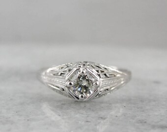 Art Deco Diamond Ring, Art Deco Filigree Ring, White Gold Engagement Ring, Diamond Engagement Ring RUZDDF-D