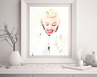 Marilyn Monroe in White (2), Watercolor Art Print, Movie Poster, Marilyn Portrait, Classic Hollywood Decor, Bedroom Living Room Wall Art