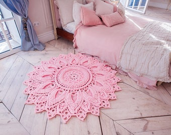 """Pink crochet rug, round area rug (55 in), doily rug, yarn lace mat, nursery carpet, girl's room floor decor by LaceMats """"LaceElvenFlower"""""""