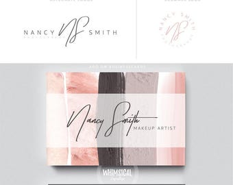 makeup artist brush 1 brand initials businesscards simple modern feminine branding- logo Identity for artist makeup and wedding photographer