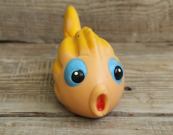 Vintage soviet rubber toy fish collectible toy rubber doll for Rubber fish toy