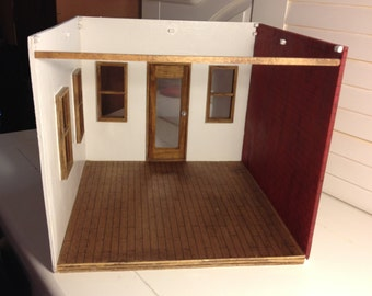Original design Wood Dollhouse, Diorama, Room box or Display for Miniatures. Room by Room design. Start off with one room at a time! 1:12