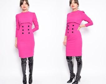 Vintage 60's Pink Wool Dress / Long Sleeve Midi Wool Dress / Pink Button Dress