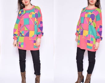 Vintage  90's Color Block Sweater . Pink Multi Color Sweater - Size Extra Large/XL