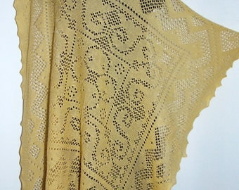 Laura Ashley vintage 80's, new with tag, raffia, 100% cotton knit lace cobweb scarf shawl wrap