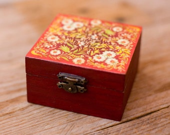 Red floral handmade, rustic decoupaged wooden trinket box