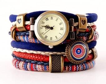 bracelet and a watch, cuff, stylish watch, boho, navy blue, red