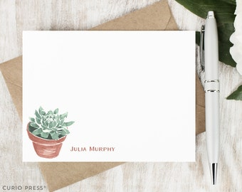 Personalized Notecard Set / Set of Flat Personalized Stationery Cards / Stationary Note Card Set / Monogram Thank You Notes // SUCCULENT