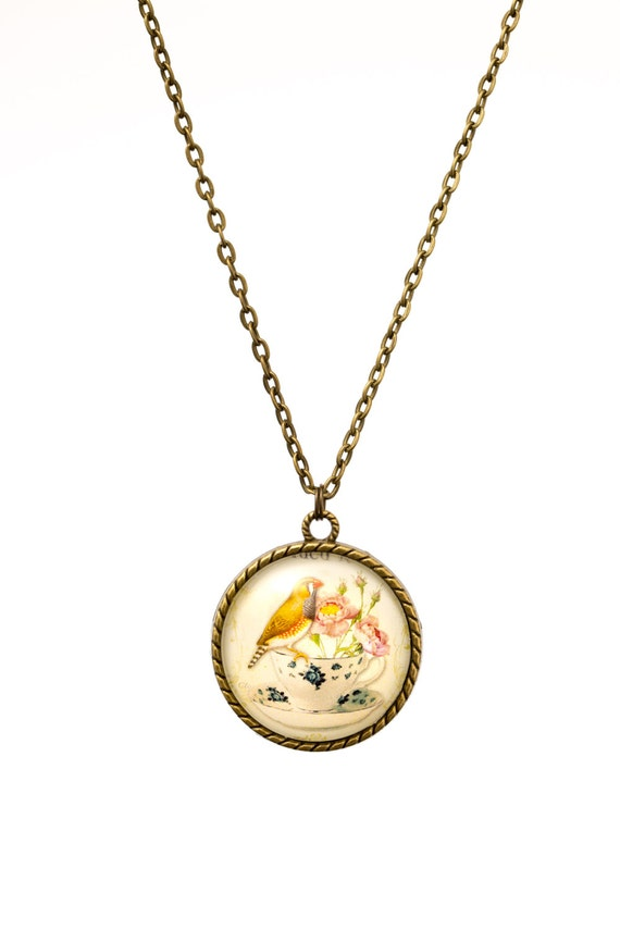 FREE SHIPPING - **NEW** Bird And Teacup 30mm Bronze Lace Necklace - Unique - Vintage - Gorgeous Gift - Love