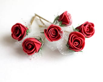 Red Rose Hair Clips, wedding hair accessories, bridal hair clips, red rose pins, flower hair clips, rose bobby pins, flowergirl Set of 6