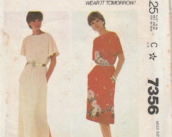 McCall's 7356 Misses Long or Short Dress Pullover Boat Neck Side Slit Evening Gown Short Sleeves Size 14 16 Bust 36 38 Uncut Sewing Pattern