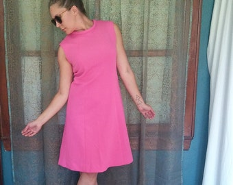 1960s Bubblegum Pink Shift Dress 60s Mod Dress Vintage Pink Dress Classic 60s Dress Twiggy Dress 60s Shift Dress Mad Men Sleeveless Dress