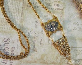Vintage Rhinestone Cherub Assemblage Necklace