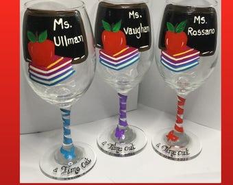 Teacher Wine Glass Personalizec