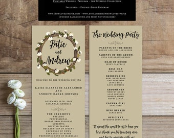 Printable Wedding Program - the Stuffing Collection - Wedding Program - Printable Fall Wedding Program