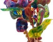 Unique Garden Art Yard Stakes, Set of 3 Unique flowers, Recycled Art, Plastic Bottle,  Colorful Garden Decor, Multicolor Art