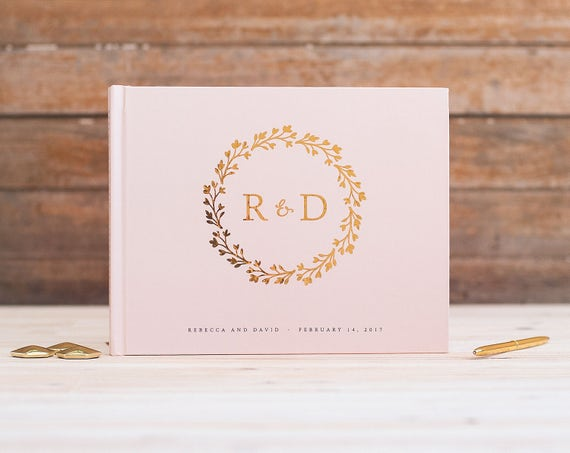 Wedding Guest Book Gold Foil horizontal wedding guestbook monogram wreath gold foil photo guest book album instant photo booth book blush