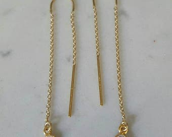 Cz threader earrings 14k gold