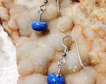 OOAK Artistic Blue and Sterling Silver Earrings
