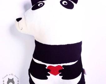Panda Bear cushion soft toy soft furnishing woodland themed nursery children's bedroom pillow plushie