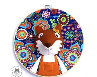 Custom fox embroidery hoop wall art, 3D portrait, 3D wall art, nursery decor, animal portrait, wall hanging, woodland themed bedroom