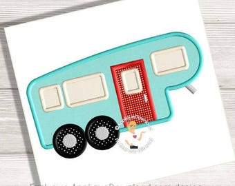 Fifth Wheel Camper Applique Design - Instant EMAIL With Download - 3 sizes - for Embroidery Machines