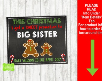 Gingerbread Pregnancy Announcement Sign - Printable Pregnancy Announcement Sign - Digital Chalkboard Sign - Big Sister Pregnancy Sign