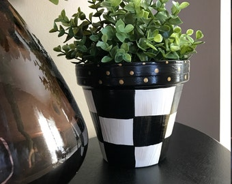 Black and White Checked Planter Pot