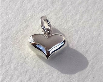 10mm puff heart  sterling silver charm , sterling silver puffy heart charm ,10mm  3D silver heart puff heart pendant
