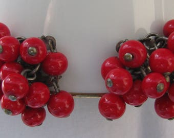 Vintage 1940's Fire Engine Red Enameled Metal Balls Fringe Earrings, Classic Screw Backs, Japan