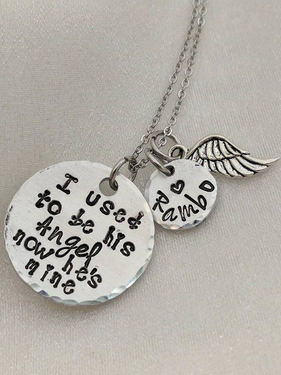 Memorial Necklace - I Used To Be His Angel - Dad Memorial Jewelry - In Memory Of Dad - Remembrance Necklace - Sympathy Gift - Loss of Dad
