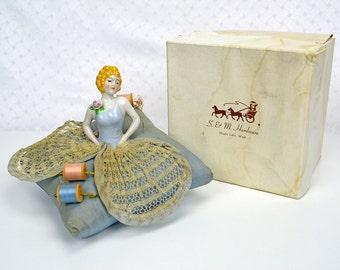Porcelain Cutie Half Woman Doll - Pincushion with Kloster Thread Wood Spools - in Original Box