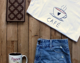 Women's CAFE BREAK T-Shirt for Francophiles who love coffee